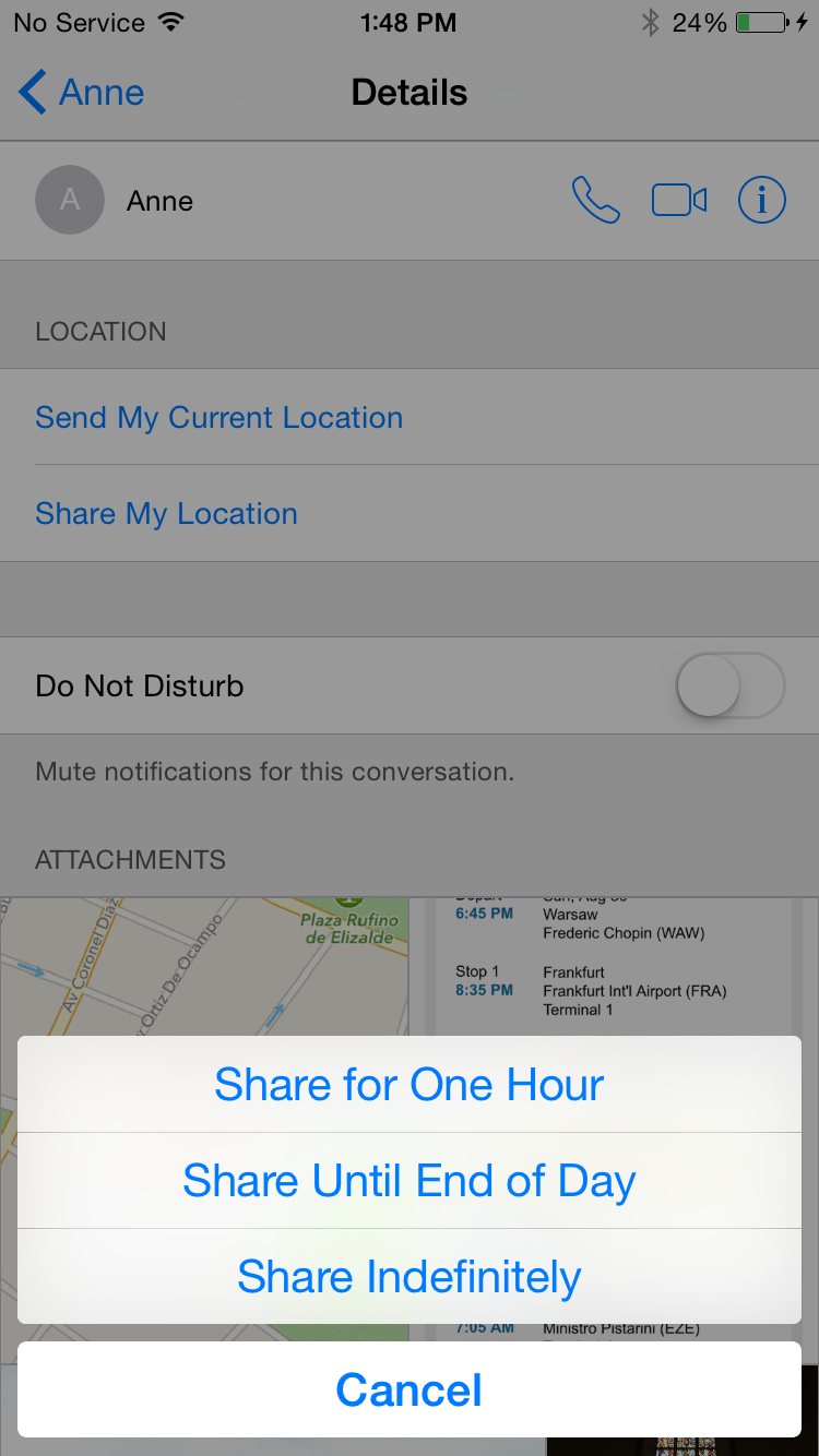 iPhone Sharing Location Step 3