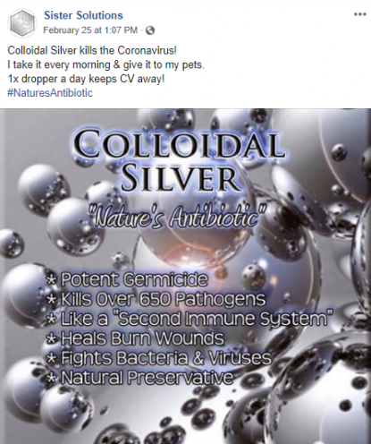 Colloidal Silver Facebook Post Scam Example